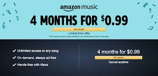 amazon is offering a four month trial to their unlimited service normally 7 99 per month or 79 per year for prime members or 9 99 for prime