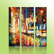 hand painted 75x100 wall art picture home decor street light night scene thick palette knife