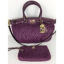 Coach Madison Sophia Purple Nylon Leather Satchel