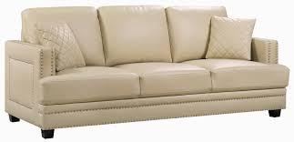 meridian furniture ferrara beige bonded leather sofa to enlarge
