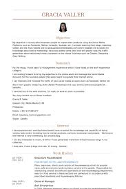 housekeeping resume templates housekeeping resume example executive housekeeper samples systematic