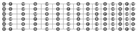 Notes On A Fretboard Chart Memorizing Fretboard Andrey Lushnikov Medium