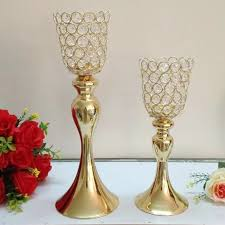 <b>10PCS</b>/<b>LOT Metal</b> Gold Candle Holders With Crystals 38CM/30CM ...