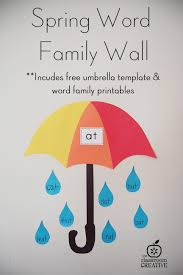 Word Families Template Spring Umbrella Word Family Word Wall