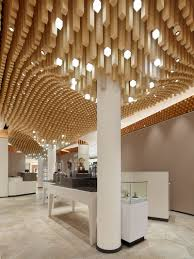 Modern Ceiling Design Idea - 4362 Square Wooden Dowels Cover The Ceiling Of  This