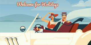Retro Holidays Welcome For Holidays Retro Illustration Of Man And Woman Driving In