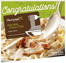 olive garden never ending pasta pass bidding ends 10 2 16 10pm valid 10 3 11 20 2016