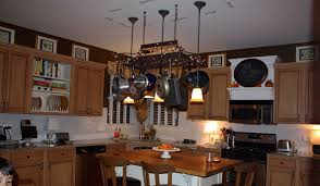 splendid kitchen pot rack with lights e with rectangle shape