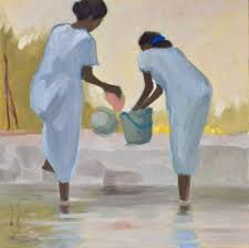 washing in the backwaters oil on canvas 70 x 70 cm 2 450