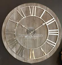 large rustic wooden wall clock r t