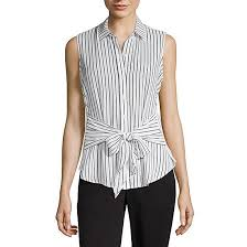 Worthington Womens Sleeveless Button Front Shirt From