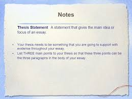 the essay body introduction attention getter lead  notes thesis statement a statement that gives the main idea or focus of an essay