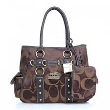 Coach Stud In Signature Medium Coffee Totes 1591
