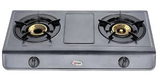 Non Stick Kitchen Appliances Gas Stove Table Top Non Stick 2 Burner Metalic Grey Mika