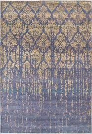 damask pattern gold purple handknotted rug