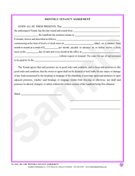 Monthly Tenancy Agreement – Bradford Publishing
