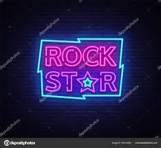 Light Rock Music Rock Star Neon Sign Vector Illustration Design Template