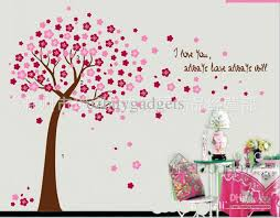 giant pink cherry blossom flowers tree wall art decals baby girls nursery bedroom wall sticker mural wall sticker baby room wall decoration for baby boy  on tree wall art for baby nursery with giant pink cherry blossom flowers tree wall art decals baby girls