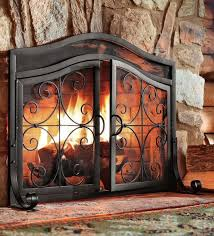 fireplace screen doors small black firescreen guard wrought iron ornamental safe