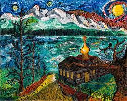 van gogh style painting alaskan orthodox church by arnold bernstein