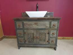 reclaimed gray barn wood bathroom vanity rustic bathroom minneapolis by vienna woodworks