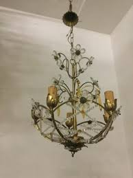 vintage chandelier with beads and crystal flowers 10