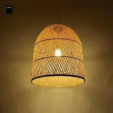 full image for bamboo wicker rattan bell shade pendant light fixture anese asian suspension ceiling lamp