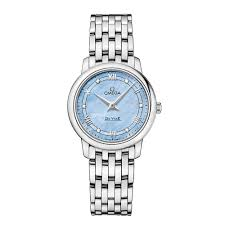 omega de ville watches for ladies and men from berry s jewellers de ville prestige 27 4mm steel blue mop diamond dial ladies bracelet watch