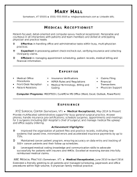 Cover Letter Medical Receptionist Resume Sample Examples Resumes
