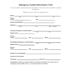 template for emergency contact information emergency contact card template