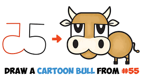 howtodraw cartoon bull cow from numbers letters easy step by step drawing tutorial for kids