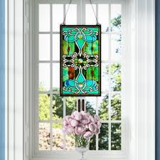 Stainglass window designs Glass Patterns Tiffany Style Stained Glass Window Panel Stained Glass Windows Stained Glass Design Stained Glass Stained Glass Panels Youll Love Wayfair