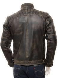 men s vintage leather biker jacket sibiu back