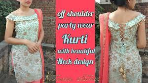 Off Shoulder Designer Suits Stylish Off Shoulder Kurti With Back Design Youtube Off