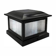 Solar Post Cap Lights Hampton Bay 5 5 In X 5 5 In Outdoor Black Solar Integrated Led Plastic Post Cap Light With 3 5 In X 3 5 In Adaptor 2 Pack
