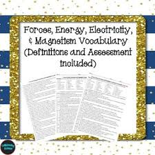 microsoft word assessment forces energy electricity magnetism vocabulary definitions
