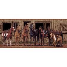 wallpaper border western horses in