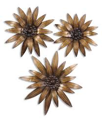 >antique gold flower trio tropical metal wall art