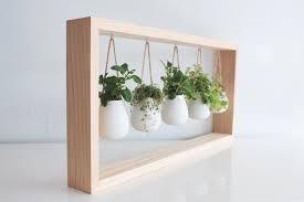 indoor herb garden in wooden frame wall