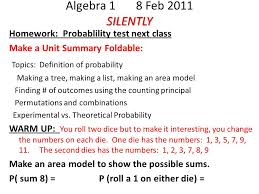 silently algebra feb silently homework probablility test  1 silently