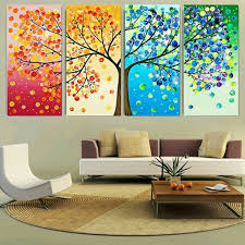 4 Pcs Canvas Print Painting (without frame and screws accessories)