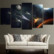 spectacular idea star wars canvas wall art home decorating ideas 5 panel destroyer and satellite large on star wars 5 panel canvas wall art with spectacular idea star wars canvas wall art home decorating ideas 5