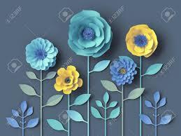 Daisy Paper Flower 3d Render Mint Blue Yellow Paper Flowers Botanical Wallpaper