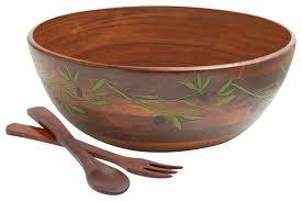 3 piece salad bowl set large engraved wood
