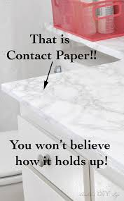 Marble Contact paper in the bathroom?! I would have never thought it would  do