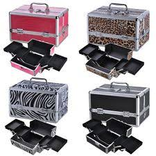 kit pro jewelry cosmetic makeup train case bag lockable artist aluminum box w strap