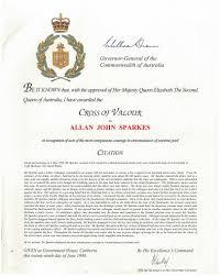 Allan Sparkescross Of Valour Citation Allan Sparkes
