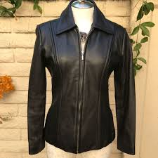 details about jones new york fitted leather jacket small