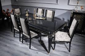 Casa Padrino Luxus Barock Esszimmer Set Silbergrau Schwarz Gold 1 Esstisch Und 6 Esszimmerstühle Esszimmermöbel Im Barockstil