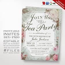 birthday tea party invitation template vintage rose tea 🔎zoom